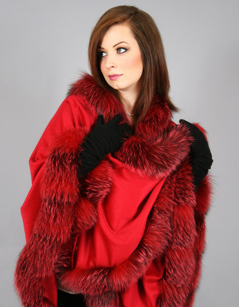 Long Cashmere Cape with Fox Trim-C