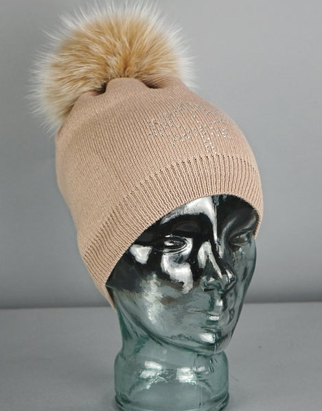 Crystal Maple Leaf Pom Pom Hat- Camel / Beige Fox