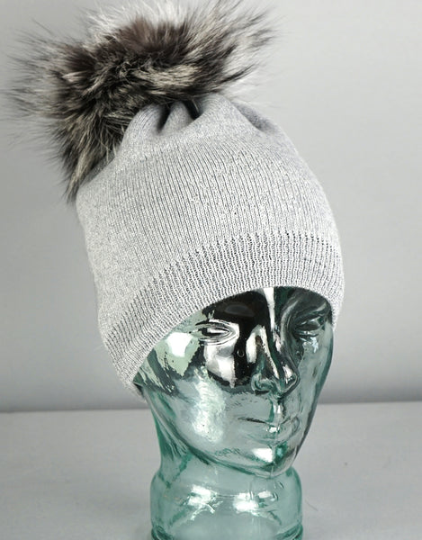 Crystal Maple Leaf Pom Pom Hat- Grey / Silver Fox