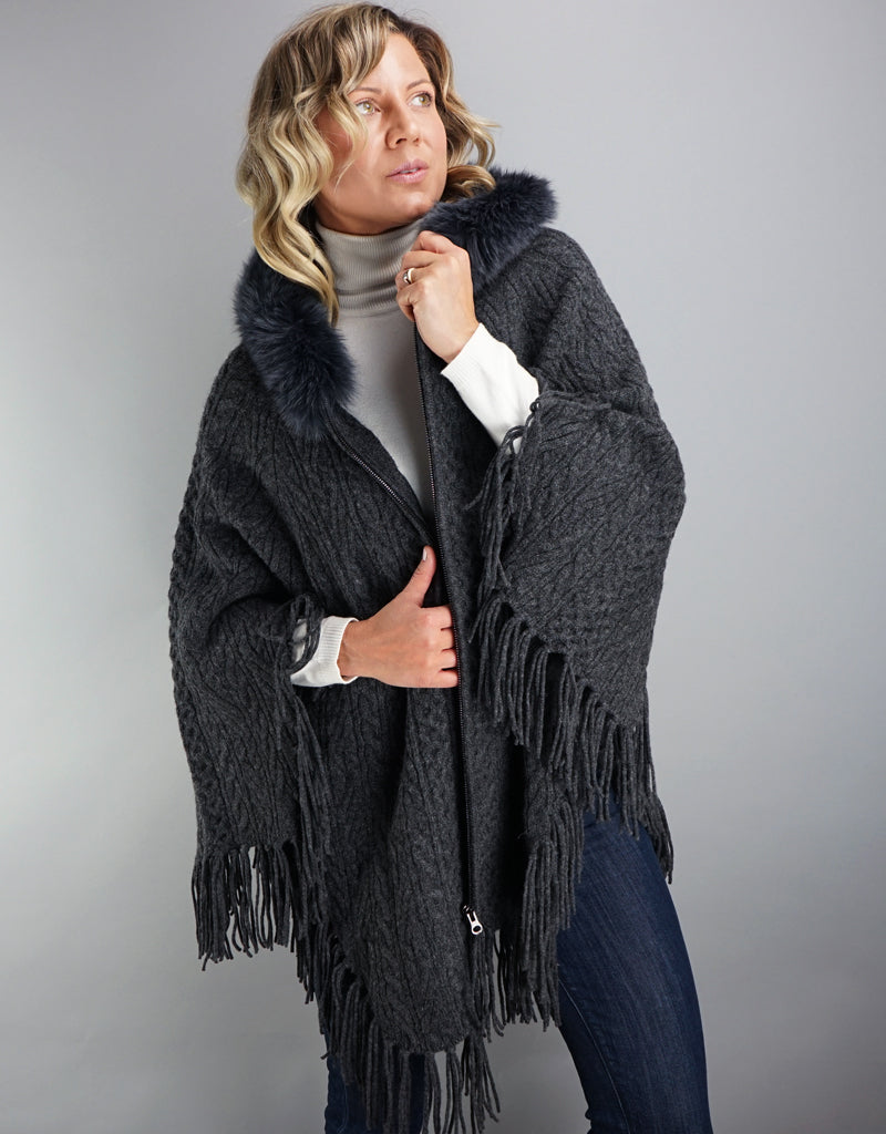 Fringe Poncho with Fox Trim- Charcoal