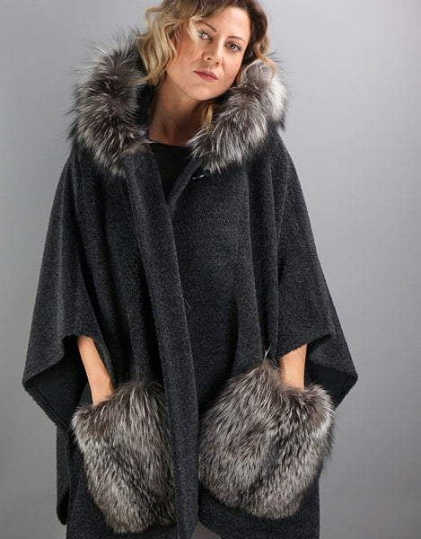 Stylish Fur Pocket Cape- Charcoal