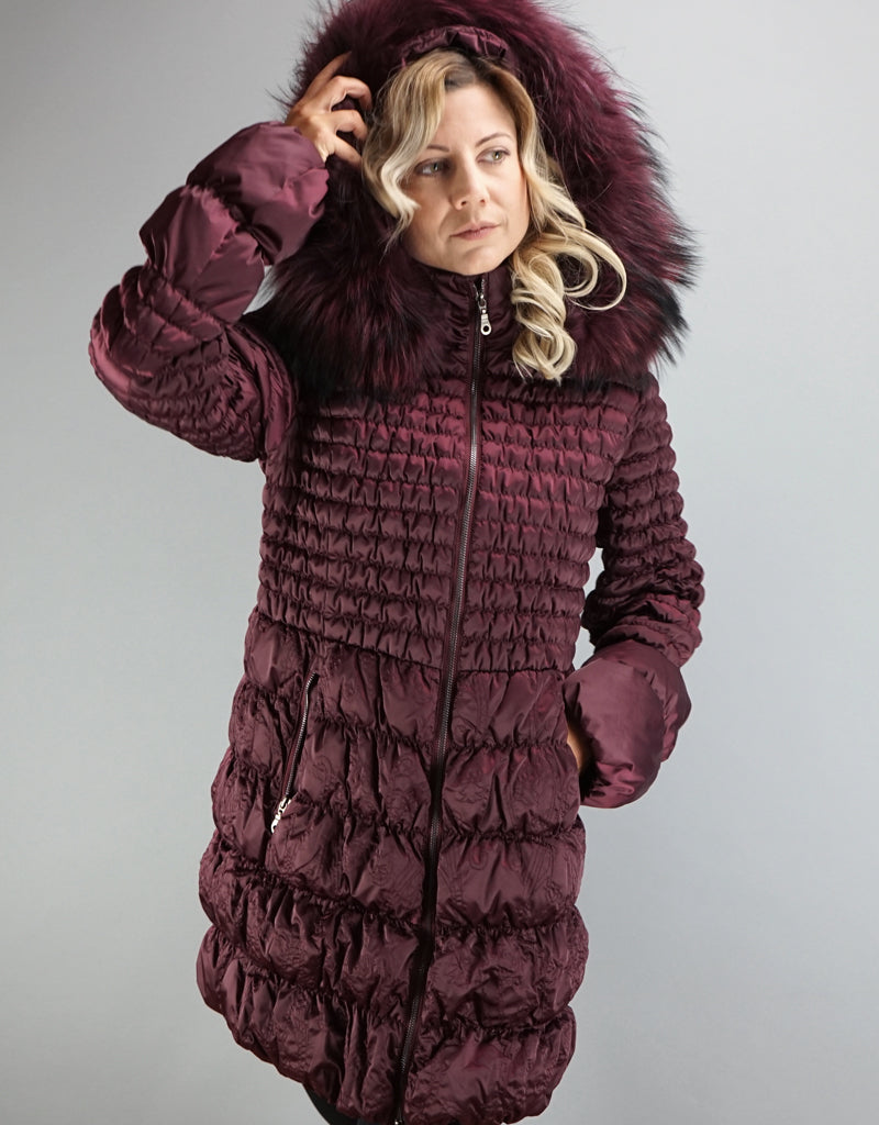 Embroidered Stitch Detail Quilted Carcoat- Dark Cherry