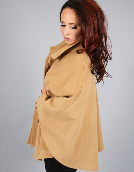 Belted Modern Cape/Jacket-Camel