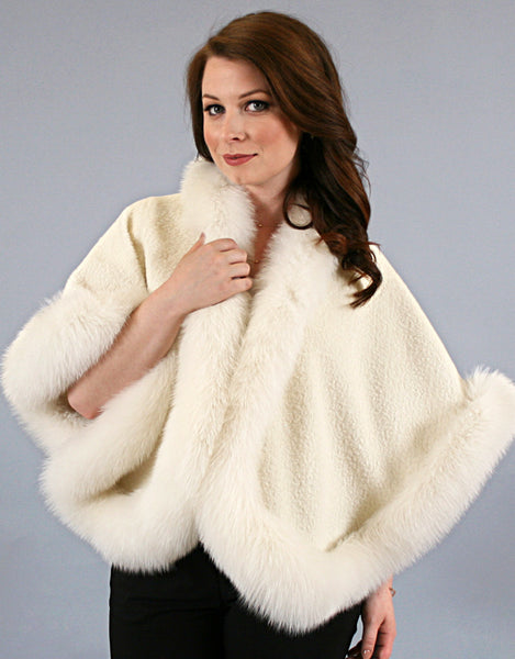Petite Alpaca Cape with Fox Trim-Off White