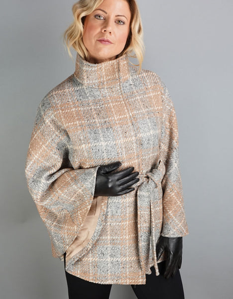Belted Modern Cape/Jacket- Grey Camel Mix