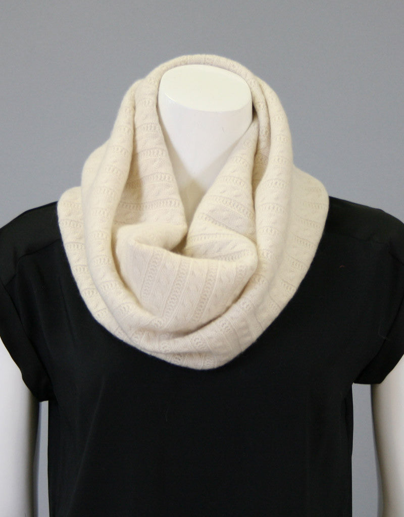 Cashmere Cable Cowl-Dark Grey