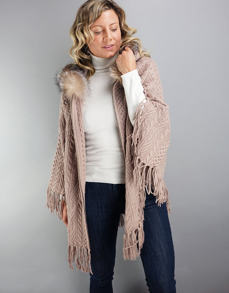 Fringe Poncho with Fox Trim- Dark Taupe
