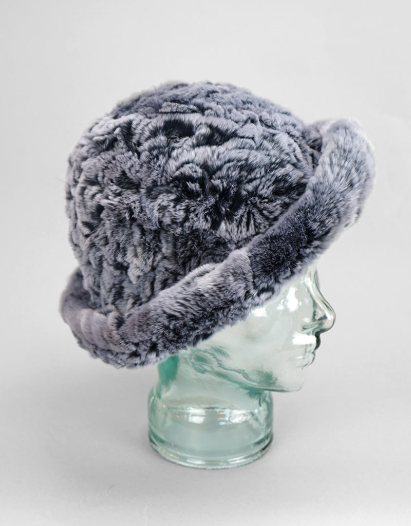 Cozy Woven Fur Hat - Black Snow