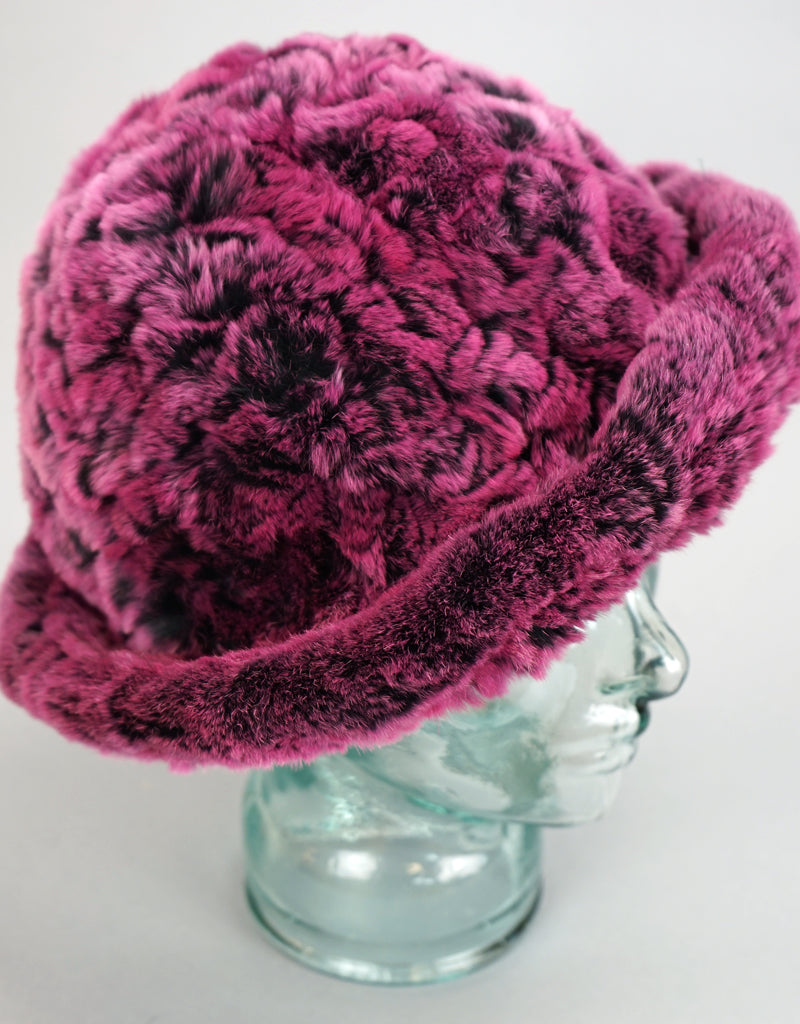 Cozy Woven Fur Hat - Pink