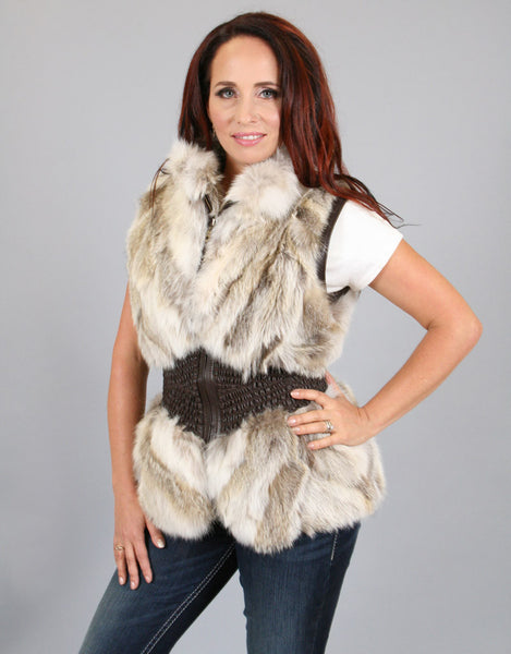 Rouched Waist Section Fur Vest-A