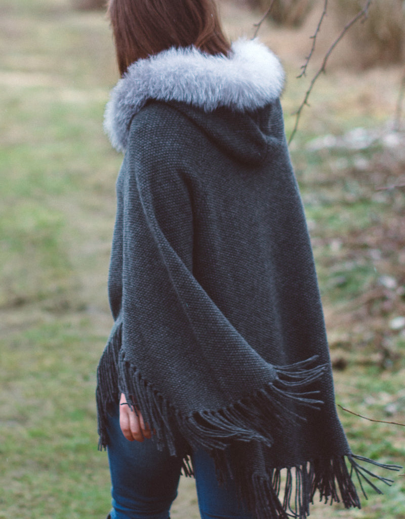 Fringe Poncho with Fox Trim- Ivory