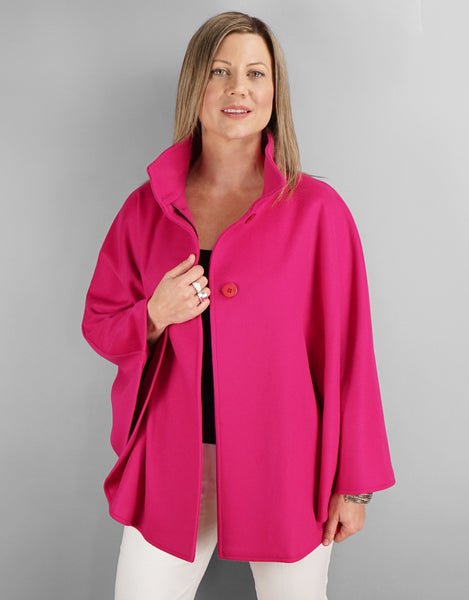 Belted Modern Cape/Jacket - Bright Pink
