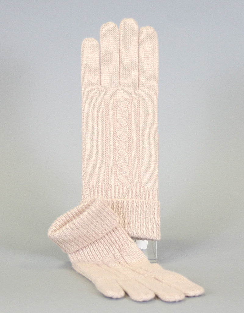 Cashmere Cable Glove-Cream