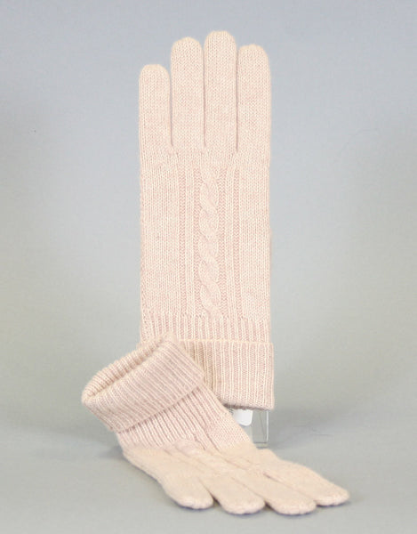 Cashmere Cable Glove-Oatmeal