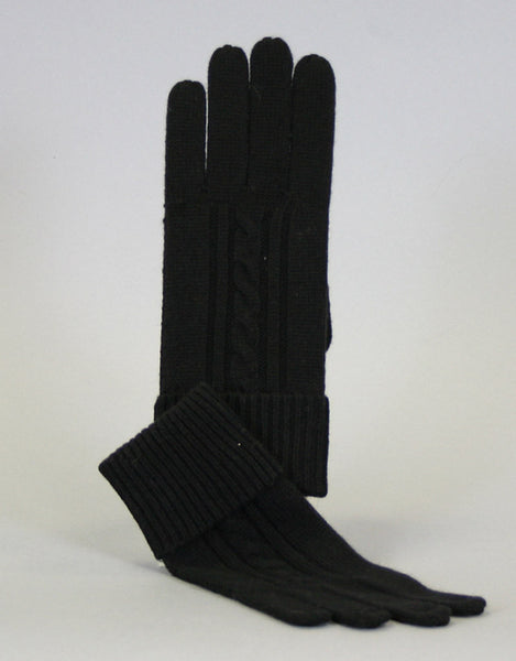 Cashmere Cable Glove-Black