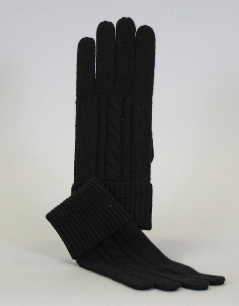 Cashmere Cable Glove-Dark Grey
