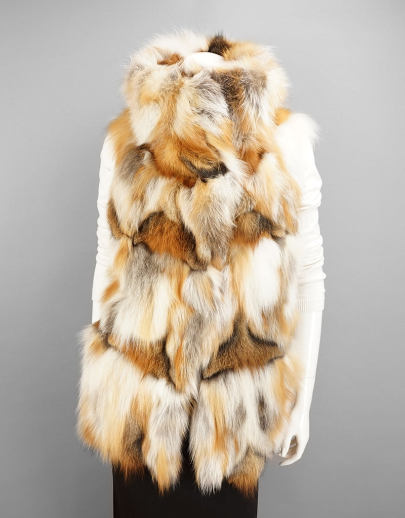 Funky Longer Section Fox Vest-Golden Island