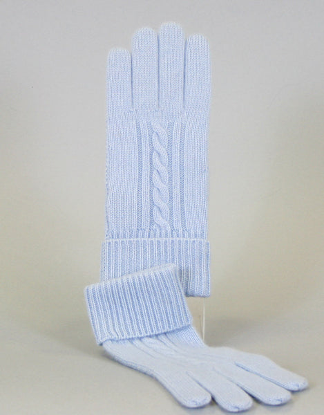 Cashmere Cable Glove-Baby Blue