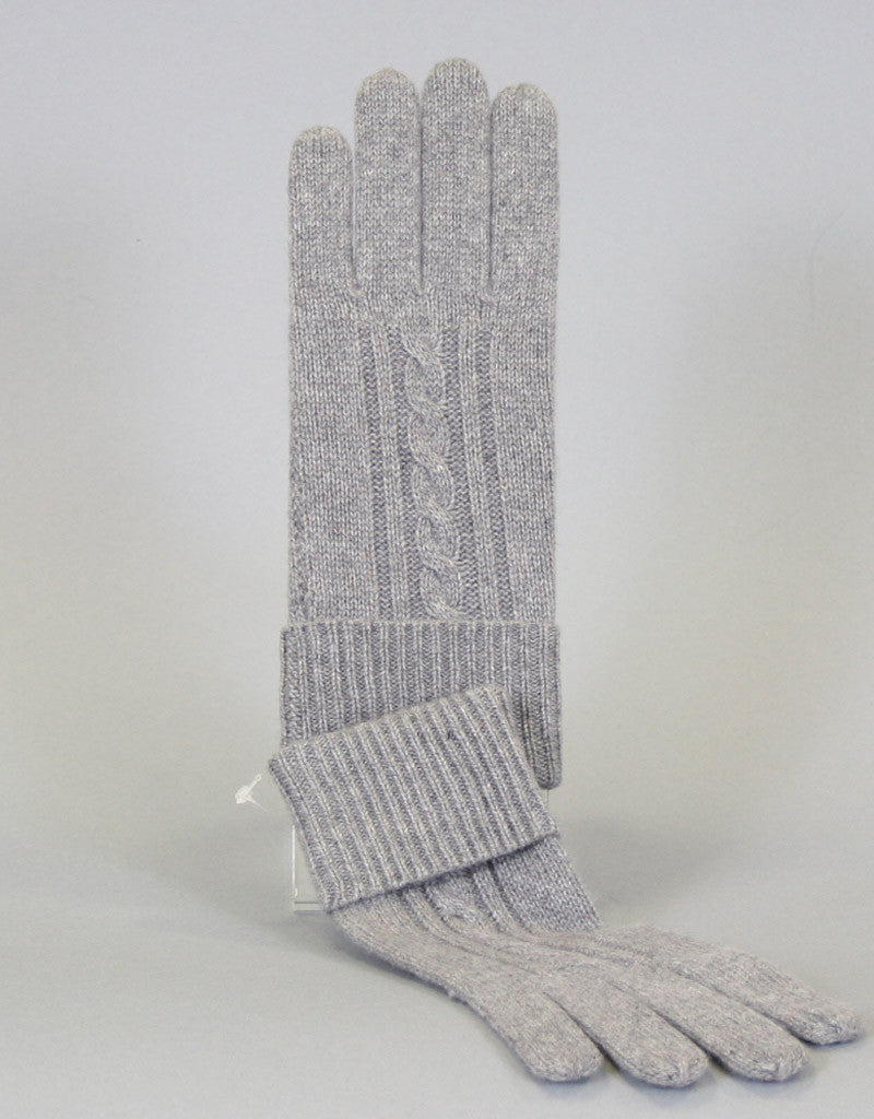 Cashmere Cable Glove-Cherry Red