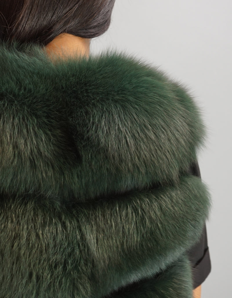 Modern Horizontal Fox Vest- Green