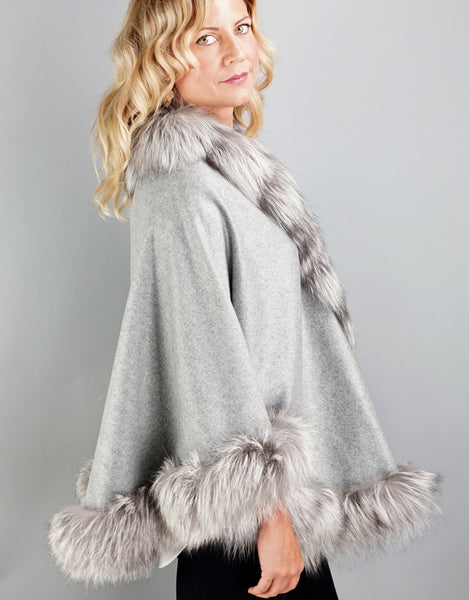 Cashmere Medium Round Cashmere Cape- Grey