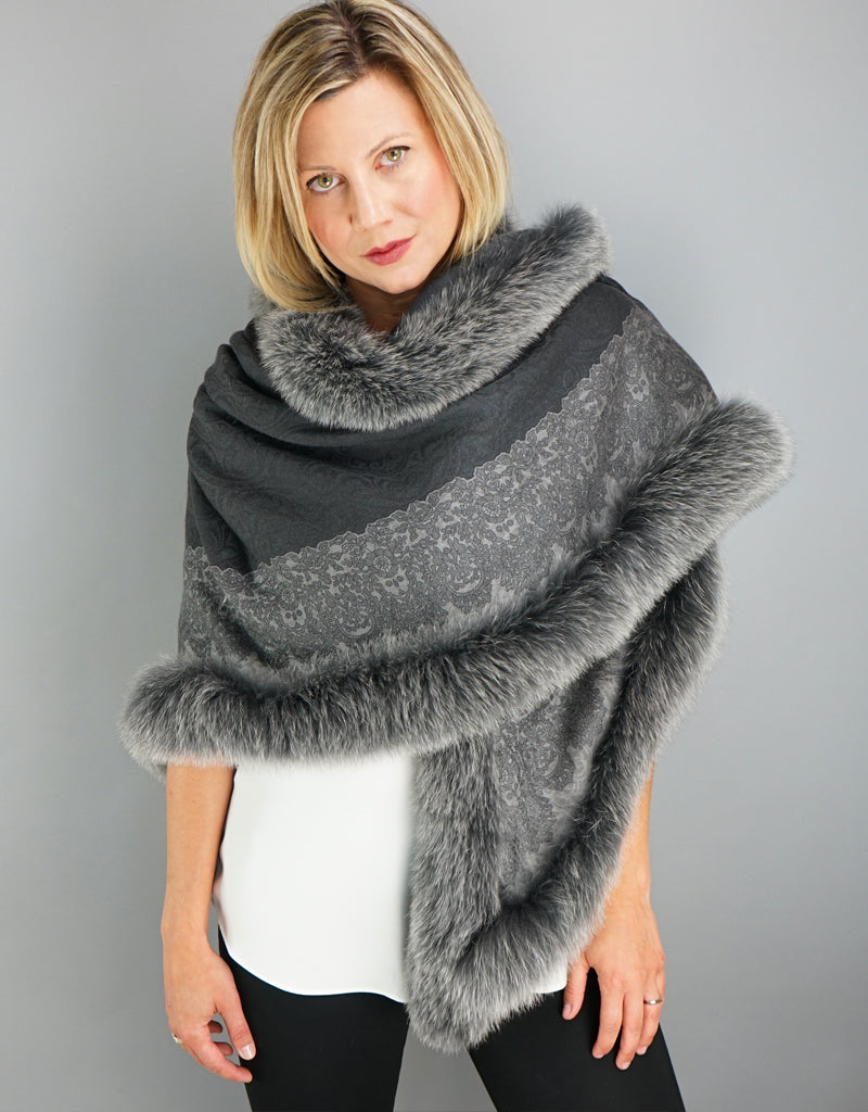 Brussels Lace Shawl- Grey