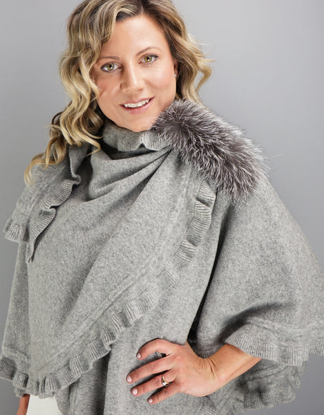 "Fancy Ruffle Loop ""Pull Thru"" Wrap - Grey Indigo"