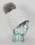 Angora Blend Sequin Hat with Fur Pom Pom - Ivory