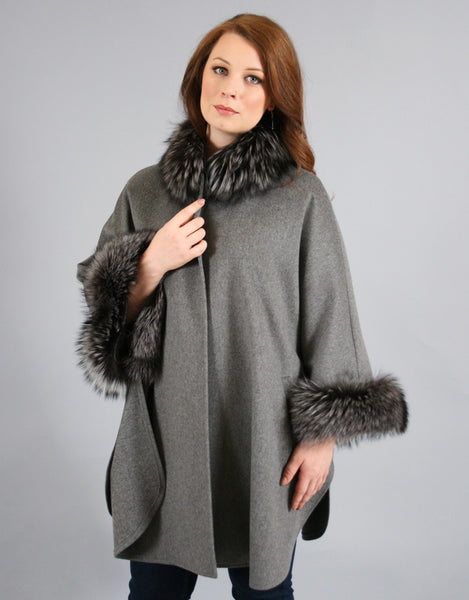 Superfine Wool Cape with Fox Trim- Silver