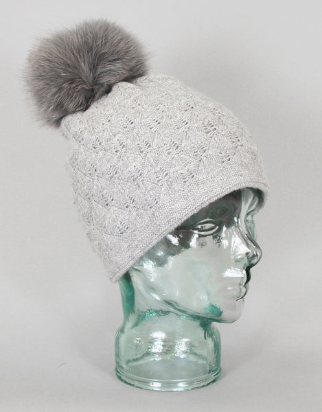 Angora Blend Sequin Hat with Fur Pom Pom - Grey