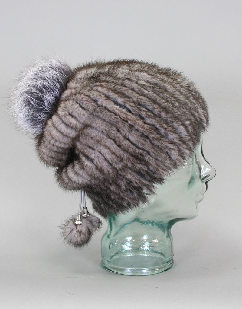 Draw Back Knit Mink Hat-White