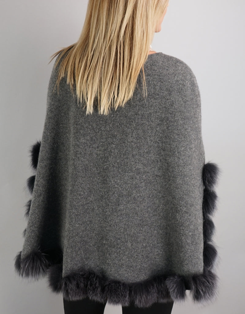 Casual Pullover Fox Trim Poncho - Charcoal