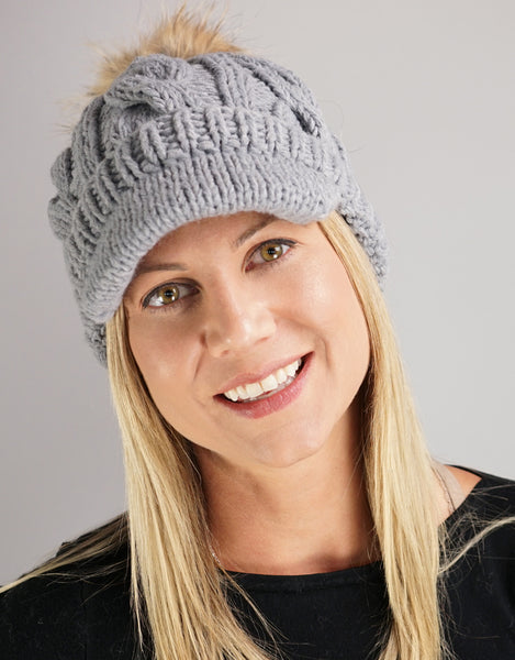 Cable Peak Knit Hat - Grey
