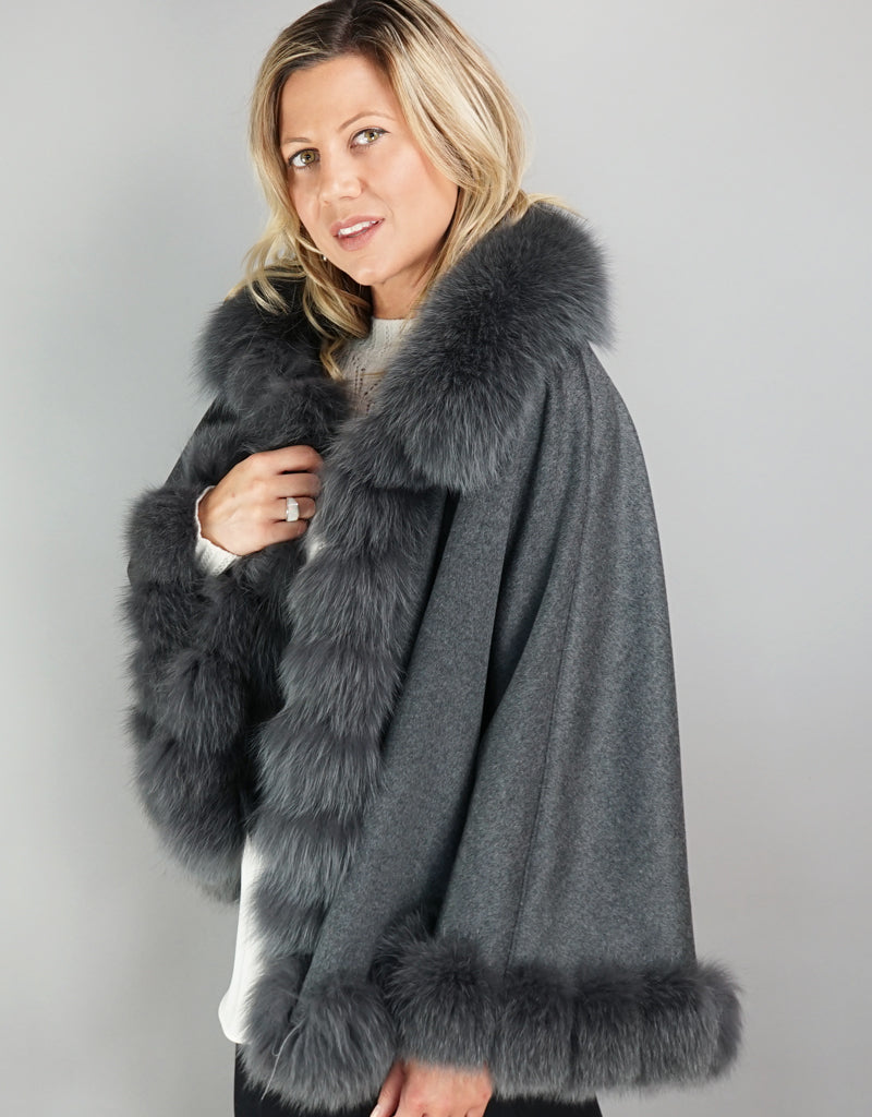 Cashmere Blend Cape / Cloak - Grey