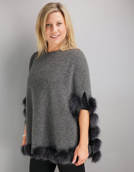 9af7e0f53 Casual Pullover Fox Trim Poncho - Charcoal