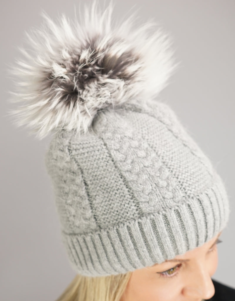 Cable Cuff Hat with Pom Pom - Grey