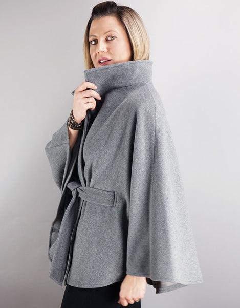 Belted Modern Cape/Jacket - Grey