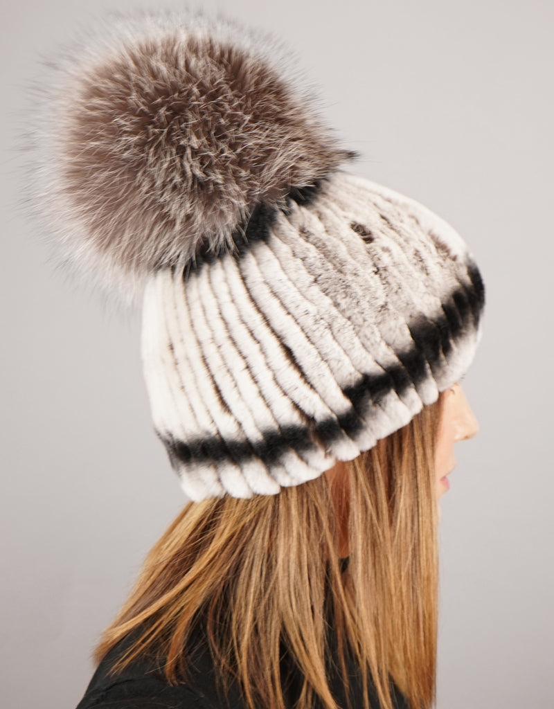 Oversize Pom Pom Stretch Rex Hat - Grey Brown Silver