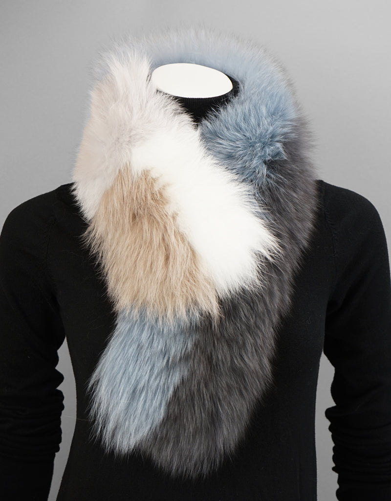 New Essential Fox Clip Collar/ Scarf- Grey White Blue