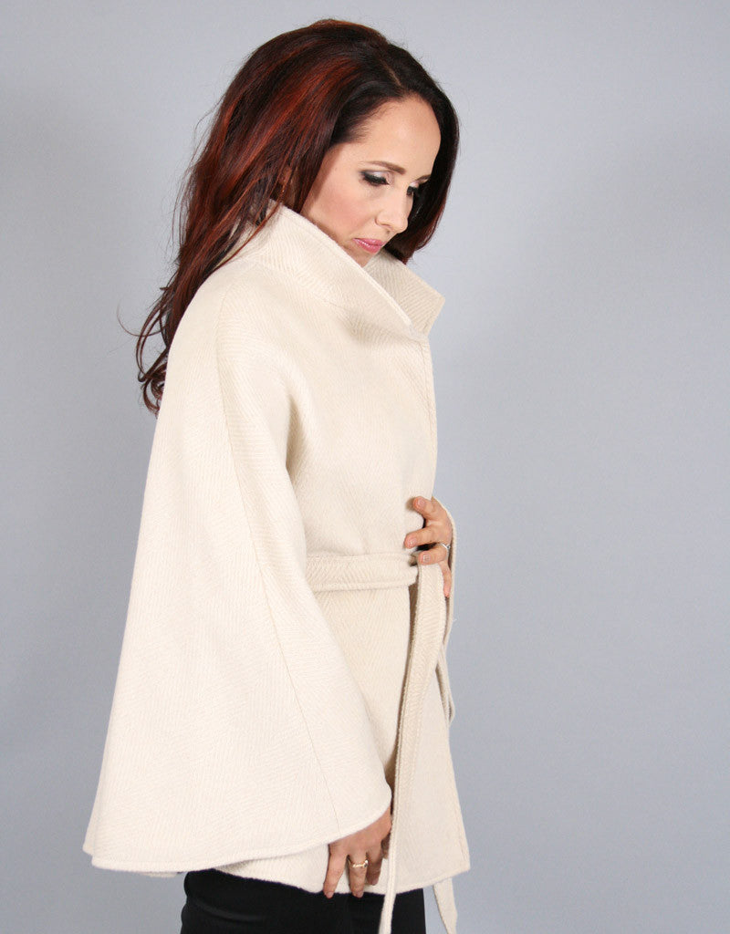 Belted Modern Cape/Jacket-White