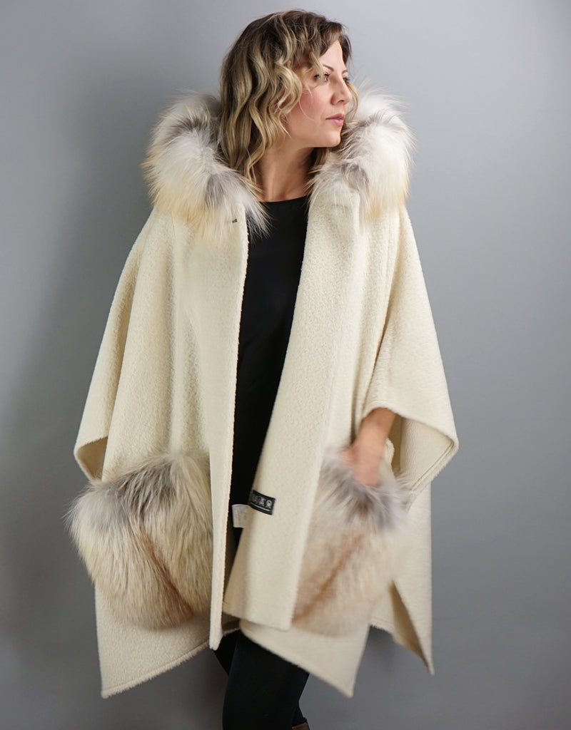 Stylish Fur Pocket Cape- Ivory