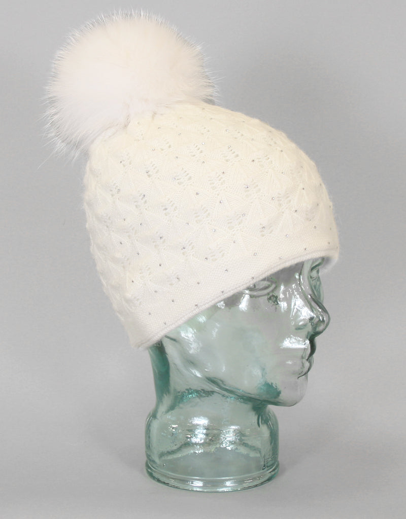 4cd1819dd19 Angora Blend Sequin Hat with Fur Pom Pom - Ivory - Snowflake