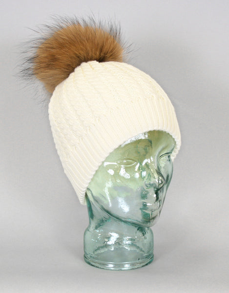 Cable Knit Hat with Fur Pom Pom - Cream