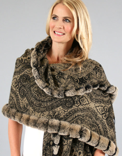 Rex Trimmed Silk Shawl- Taupe