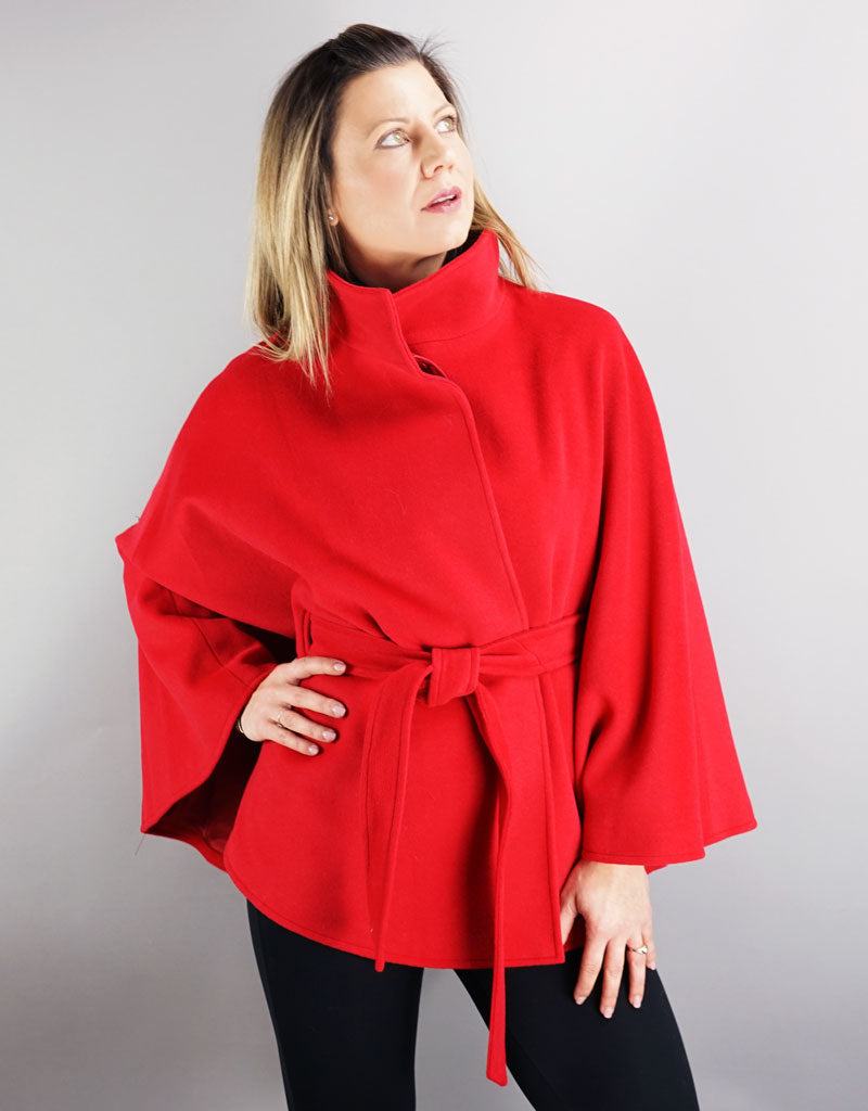 Belted Modern Cape/Jacket - Red