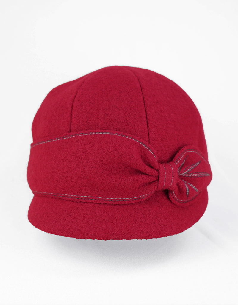 Jeanne - Lillie Cohoe / Boiled Wool Peak Cap - Ruby