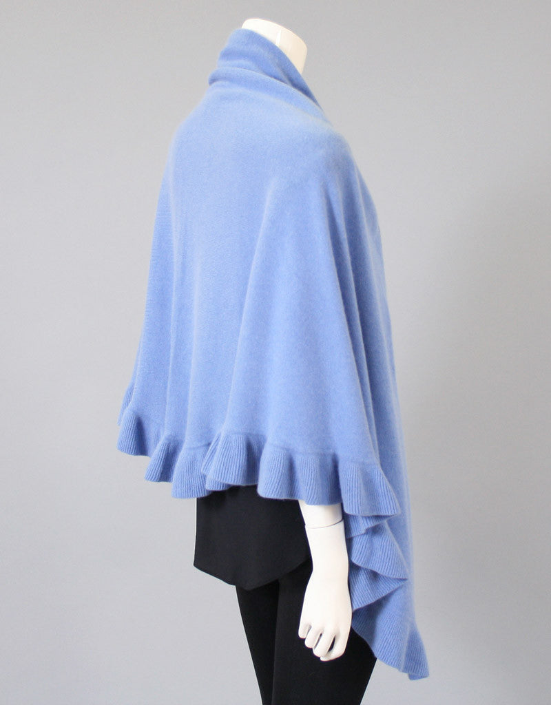 Beautiful Cashmere Ruffle Shawl-Blue