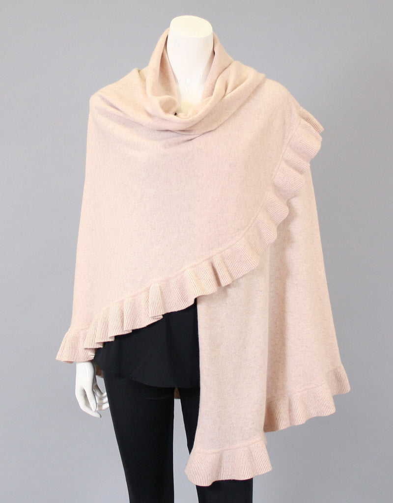 Beautiful Cashmere Ruffle Shawl-Dark Grey