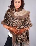 New Printed Cashmere Shawl-Grey Blue with Pearl Fox