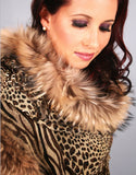 Oblong Shawl-Leopard/ Black Snow